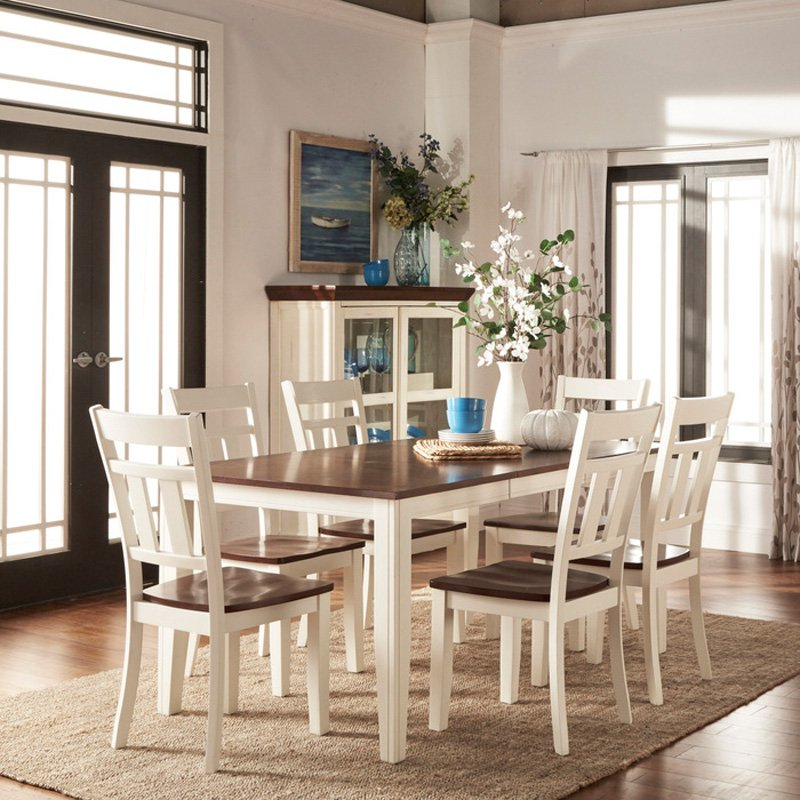 Homelegance Paxton 7 Piece Dining Table Set   White / Cherry