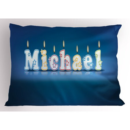 Michael Pillow Sham Kids Boys Name Letter Design for Delicious Birthday Party Cake Decoration, Decorative Standard King Size Printed Pillowcase, 36 X 20 Inches, Blue and Multicolor, by Ambesonne