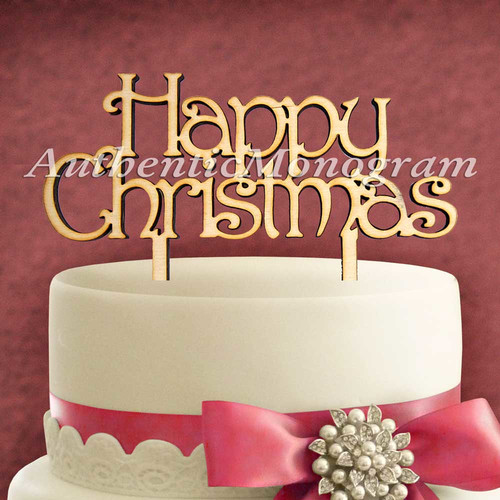 aMonogram Art Unlimited Happy Christmas Wooden Cake Topper