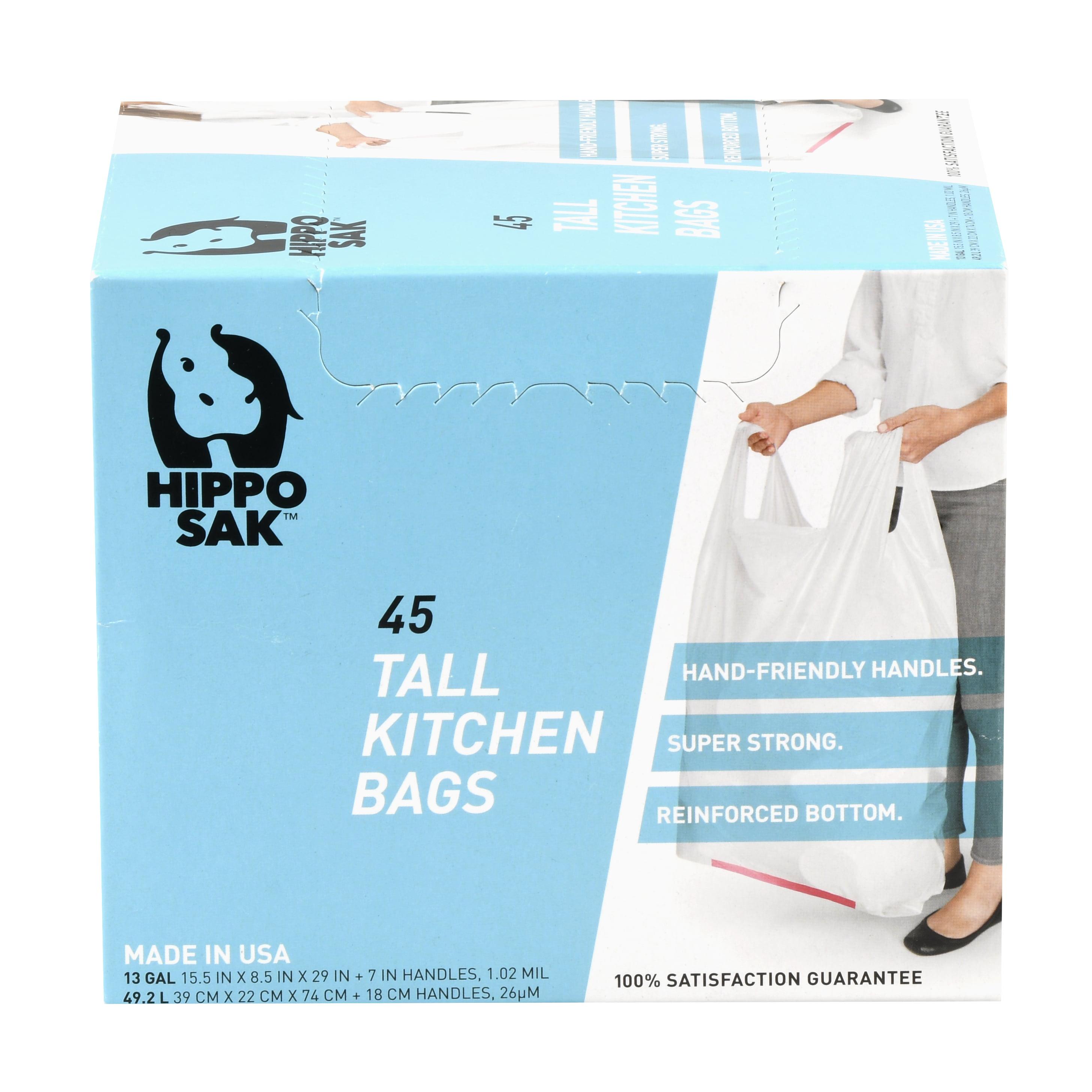 Hippo Sak 13 Gallon Tall Kitchen Trash Bag with Handles, 4-ply Extra ...