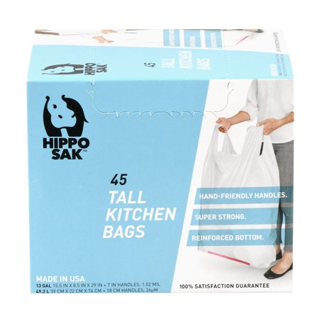 Hippo Sak 13 Gallon Tall Kitchen Trash Bags with Handles, 45 Pack 13 Gallon Case Pack