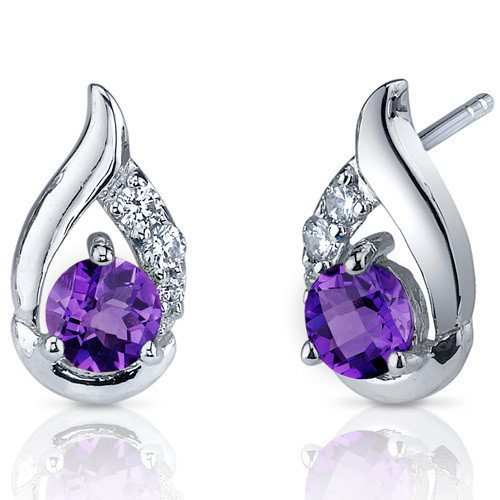 Oravo Radiant Teardrop Gemstone Round Cut Cubic Zirconia Earrings in Sterling Silver