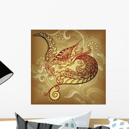 Asia Bird Phoenix Wall Mural by Wallmonkeys Peel and Stick Graphic (18 in H x 18 in W) WM304618
