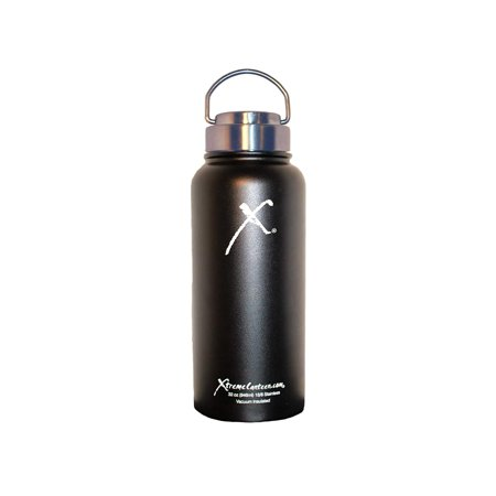 Xtreme Canteen- 32oz Double Wall, Vacuum Insulated, 18/8 Stainless Steel Wide Mouth Water Bottle (Midnight Black) ()