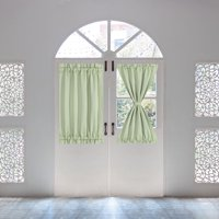 French Door Curtains Thermal Insulated Blackout Curtain Door Window Panel Curtain,25 X 40 Inch, Light Green