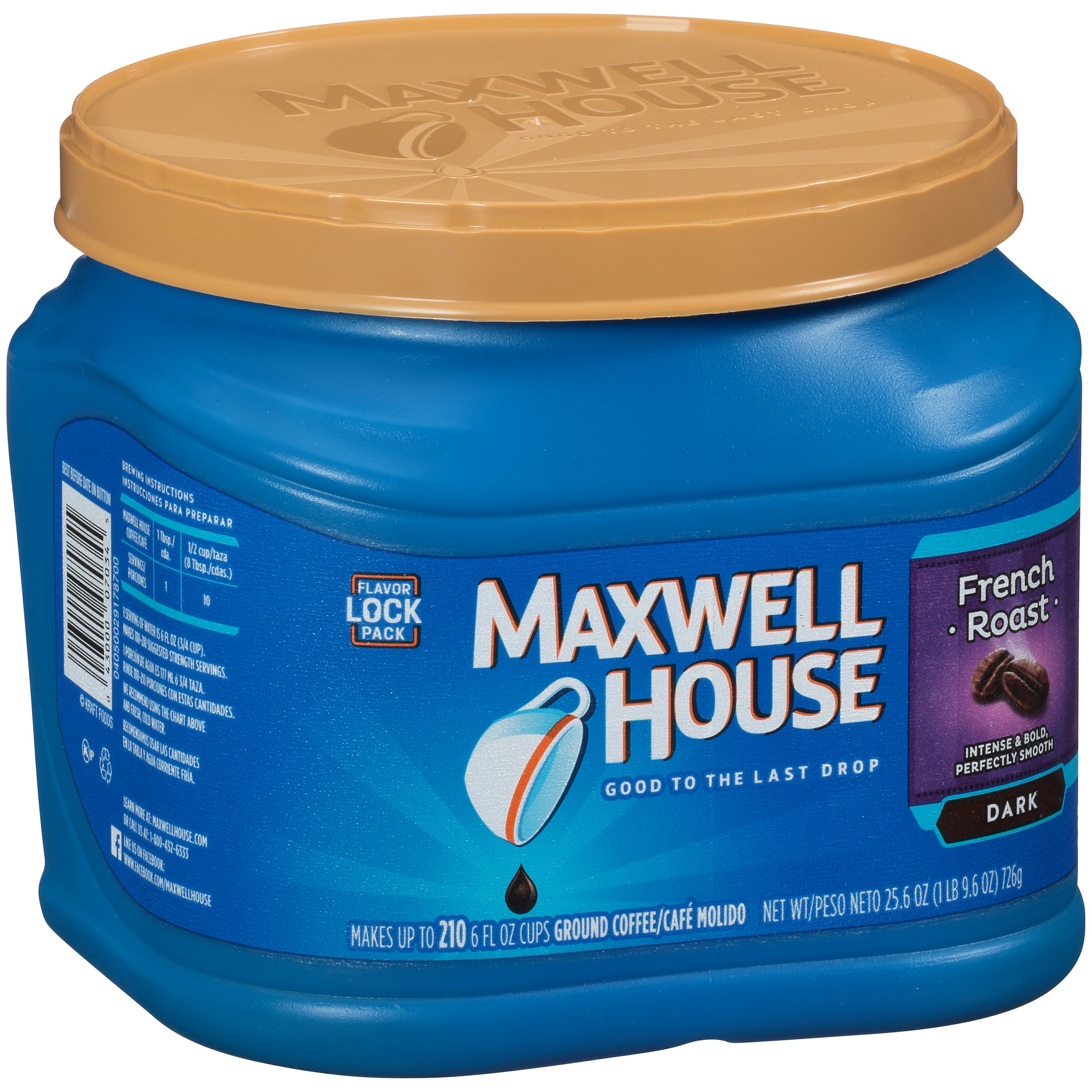 Maxwell House French Roast Ground Coffee 25.6 oz. Tub