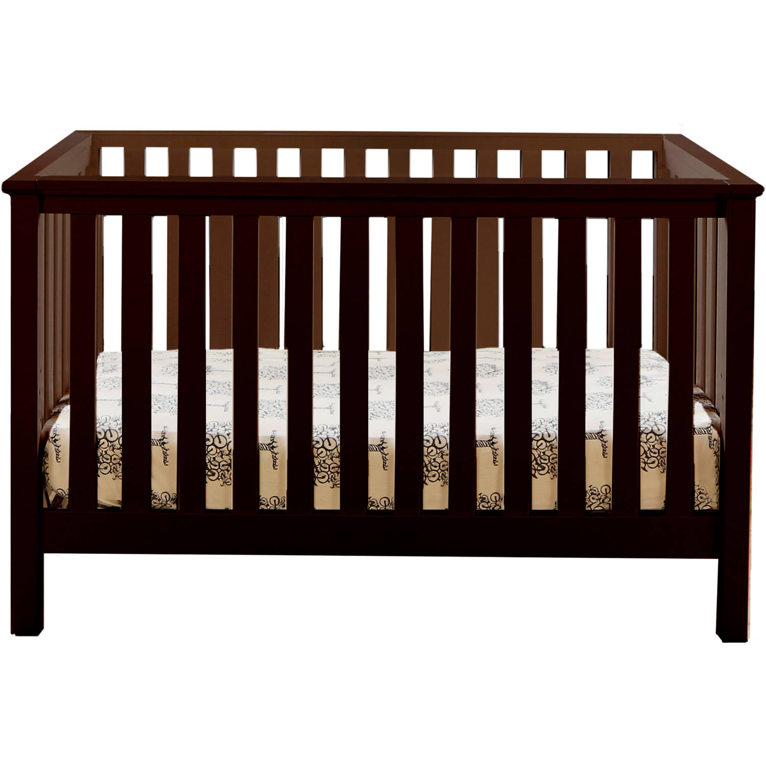 Lolly and Me Mod 4-in-1 Fixed-Side Convertible Crib, Espresso