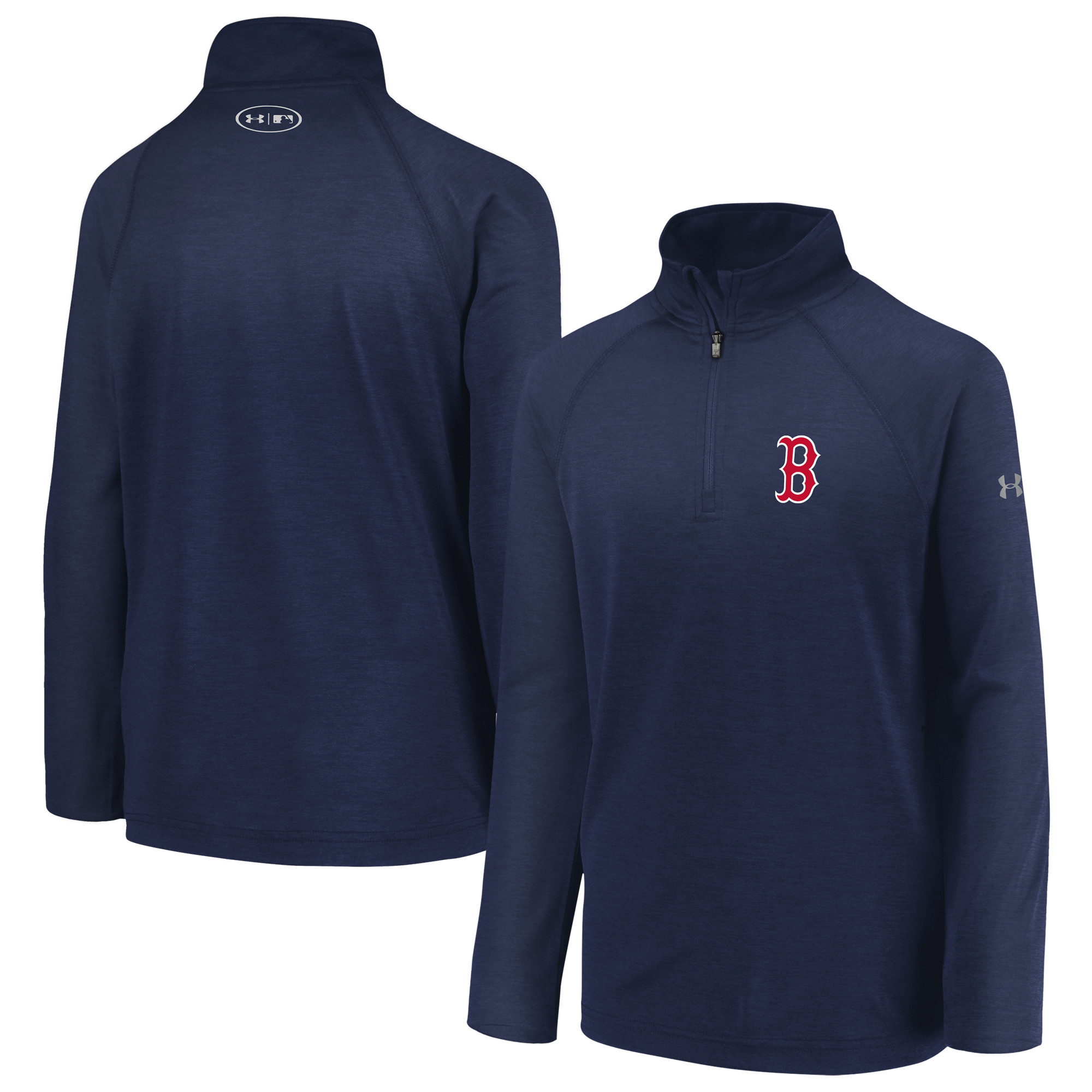 Boston Red Sox Under Armour Youth LC Logo Performance Quarter-Zip Pullover Jacket - Navy