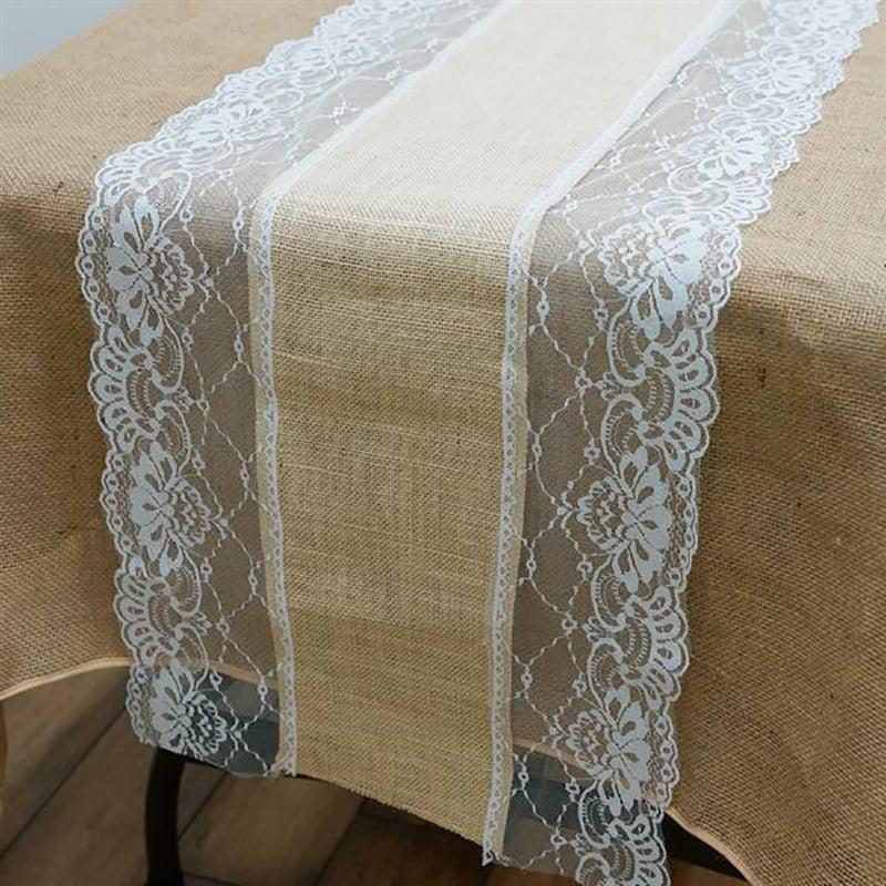 "BalsaCircle 14""x108"" Natural Brown Burlap Table Runner with Lace Rustic Wedding... by BalsaCircle"
