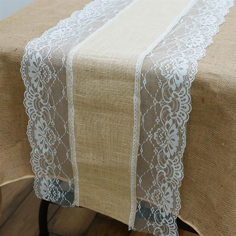 "BalsaCircle 14""x108"" Natural Brown Burlap Table Runner with Lace - Rustic Wedding Party Linens Decorations"