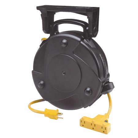 Heavy Duty Industrial Retractable Extension Cord Reel w/ Tri-Tap and Circuit Breaker Alert Stamping 8150M-P