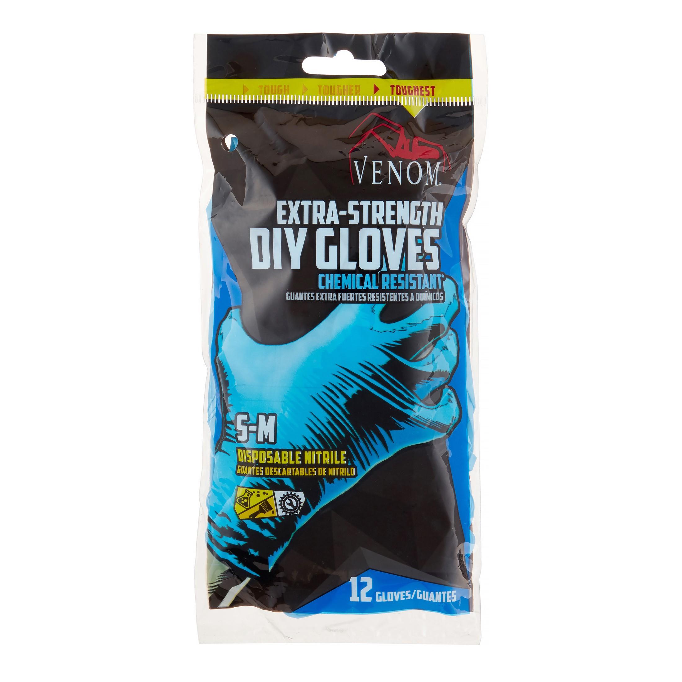 (4 Pack) Venom Extra Strength Nitrile Gloves, Small/Medium, 12 Ct