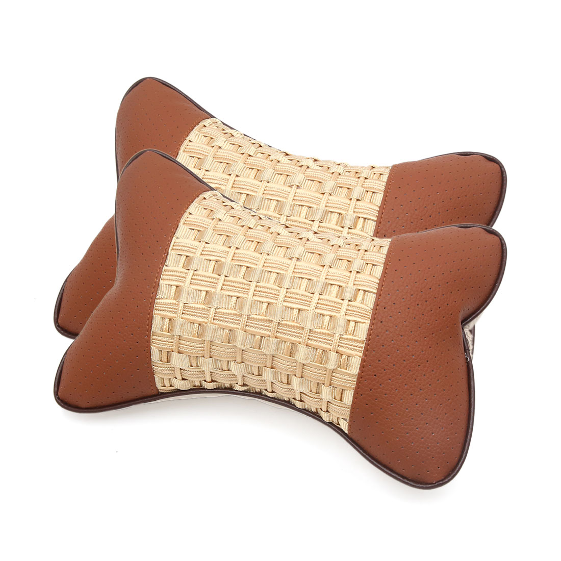 2pcs Brown Faux Leather Fabric Pillow Cushion Headrest Pad for Car Vehicle - image 2 of 2