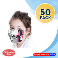 Disposable Kids Face Mask Child Size Camo Print Pleated 3 ply - 50 pieces Children Size Pink Girls