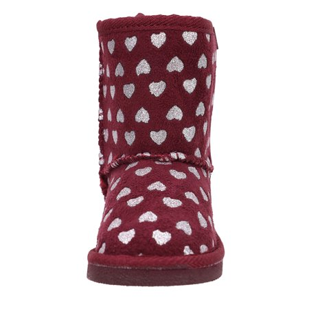 Kids Shimmer Faux Suede Sherpa Winter Boot -Foil Heart Pattern Burgundy 3
