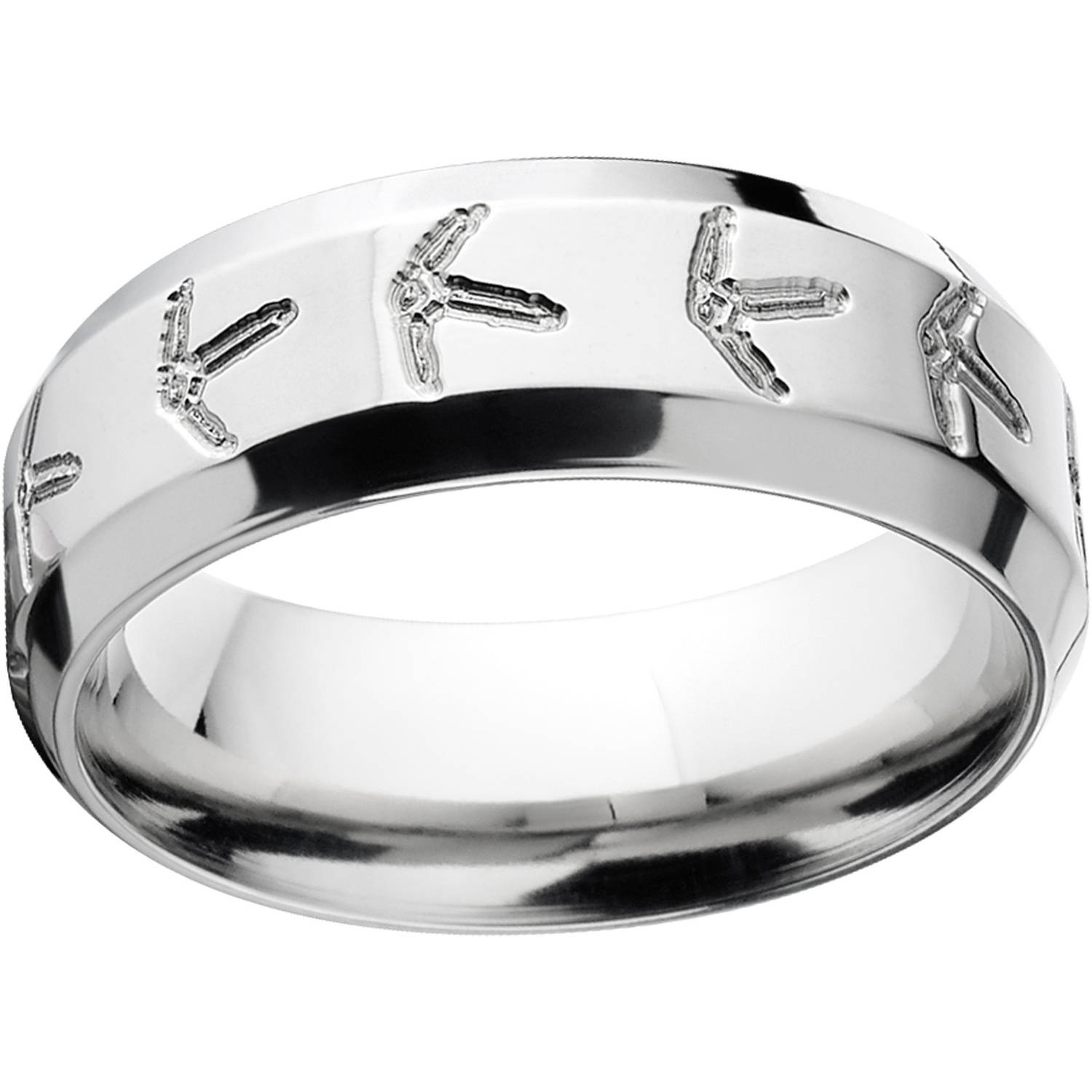 Mens Turkey Track 8mm Stainless Steel Wedding Band with Comfort