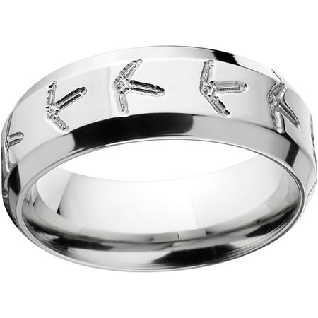 mens turkey track 8mm stainless steel wedding band with comfort fit design - Stainless Steel Wedding Ring