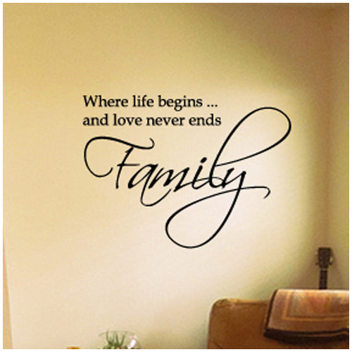 Fox Hill Trading Family Where Life Begins and Love Never Ends Vinyl Wall Decal
