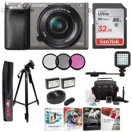 Sony Alpha a6000 Mirrorless Camera with 16-50mm Lens and 32GB Card Bundle