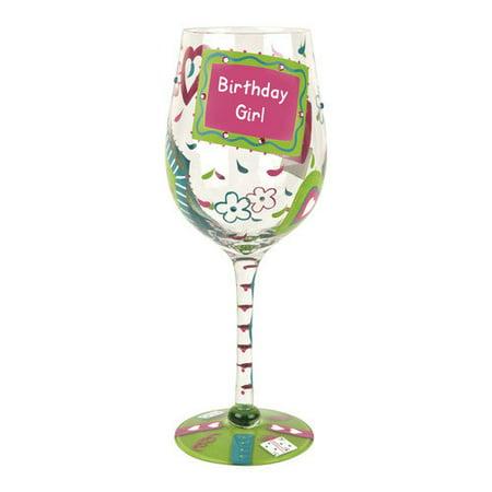 Tabletop GIANT BIRTHDAY GIRL LOLITA WINE GLASS Hand Paint