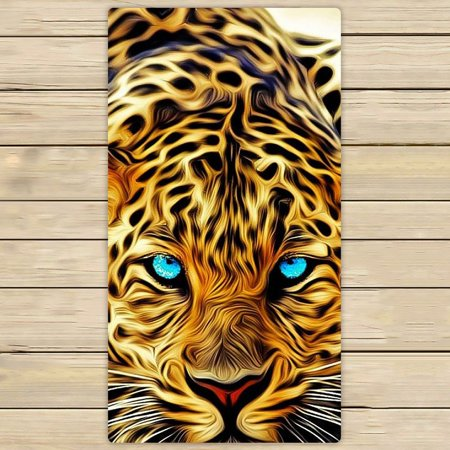 GCKG Special Effect Leopard With Authentical Blue Eyes Wild Animal Print Hand Towel,Spa Towel,Beach Bath Towels,Bathroom Body Shower Towel Bath Wrap Size 30x56 inches