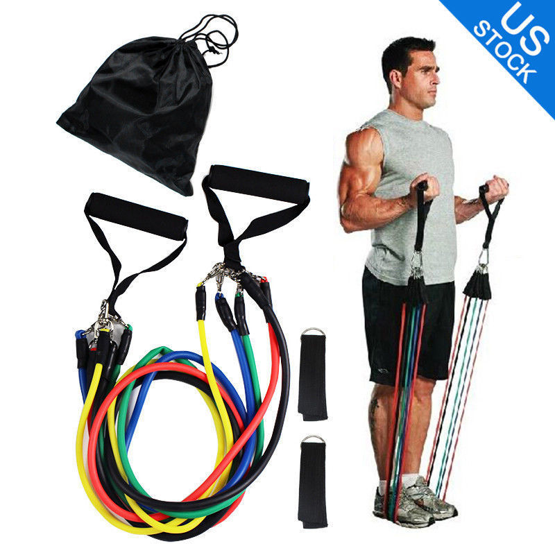 New 11 Piece Resistance Band Set Heavy Duty Yoga Pilates Abs Exercise Fitness Workout Bands