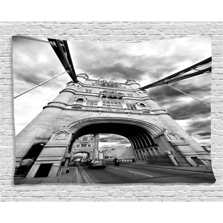 (Modern Tapestry, Tower Bridge London England Urban Street Traffic European Historical Picture, Wall Hanging for Bedroom Living Room Dorm Decor, 80W X 60L Inches, Black and White, by Ambesonne)