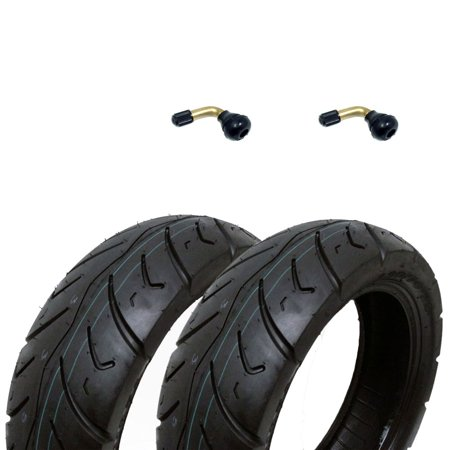 SET OF TWO: Tire 120/70-12 Tubeless Front/Rear Motorcycle Scooter Moped + 2 FREE TR87 90° Bent Metal Valve - 5 Scooter Tire