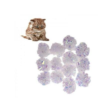 Lavaport 12 Pcs Cat Pet Toy Shiny Mylar Balls Crinkle Sound Ring Paper