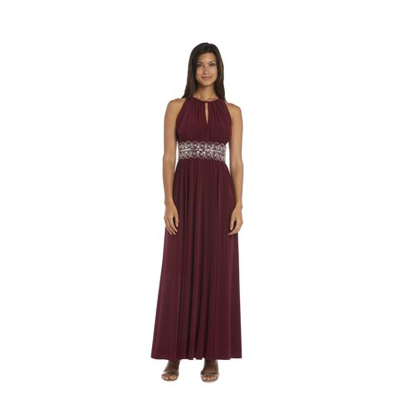 R & M Richards  Beaded Merlot Evening Gown