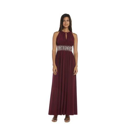 R & M Richards  Beaded Merlot Evening Gown