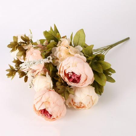 Weefy Artificial Pretty DIY Silk Fake Flowers Leaf Peony Floral Wedding Home Decor