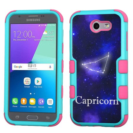 Shockproof Case For Samsung Galaxy J3 Luna Pro 4G Lte   J3 Eclipse   J3 Emerge   J3 Prime  Onetoughshield   3 Layer Hybrid Protector Phone Case  Teal Pink    Zodiac   Capricorn