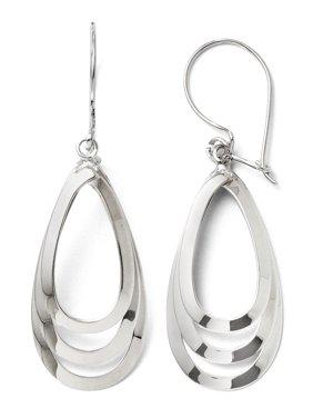 Polished Triple Teardrop Dangle Earrings in 14k White Gold, 43mm
