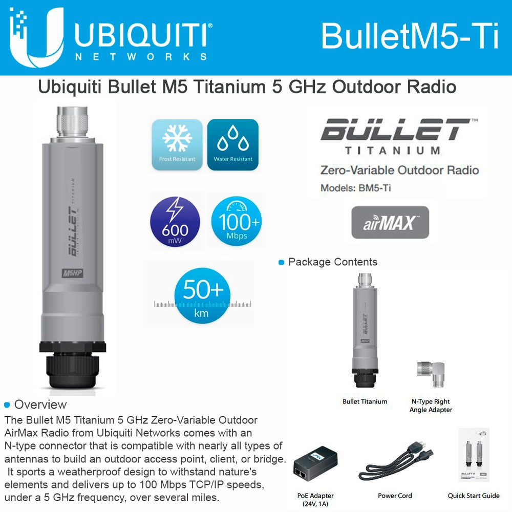 Ubiquiti BulletM5-Ti, BM5-Ti 5GHz Outdoor Wireless Radio Bullet M5 Titanium PoE