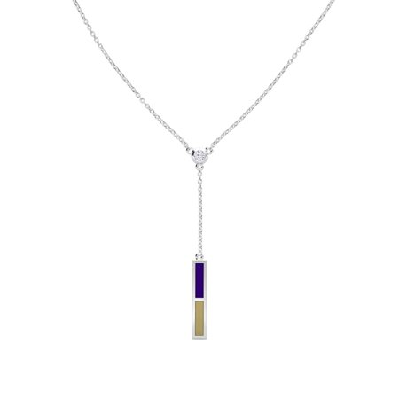 James Madison University Foundation - Diamond Drop Necklace in Purple and Light Brown