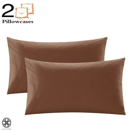 Luxtrada Set of 2 Premium 1800 Ultra-Soft Polyester Pillowcase Set with Envelope Closure Pillow Cover for Home Bedroom Hotel Travel (Queen Size,Coffee)
