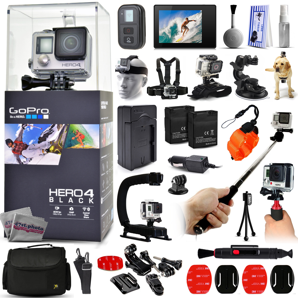 Buy GoPro Hero 4 HERO4 Black Edition CHDHX-401 with LCD Display + WiFI Remote + Selfie Stick + X-Grip Action Stabilizer +... by GoPro