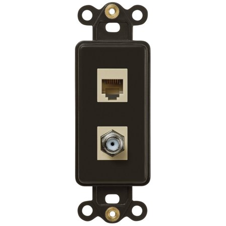 Single Coax and Single Phone Jack Rocker Insert Wallplate, - Insert Wall Plates 1 Jack