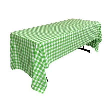 LA Linen TCcheck60x126-LimeK84 Polyester Gingham Checkered Rectangular Tablecloth, White & Lime - 60 x 126 in. - image 1 of 1