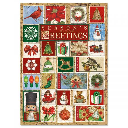 Christmas Stamps Greeting Cards- Set of 18 Holiday Greeting Cards