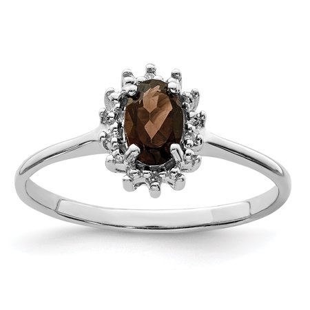 925 Sterling Silver Smoky Quartz Diamond Band Ring Size 7.00 Stone Gemstone Fine Jewelry Ideal Gifts For Women Gift Set From Heart
