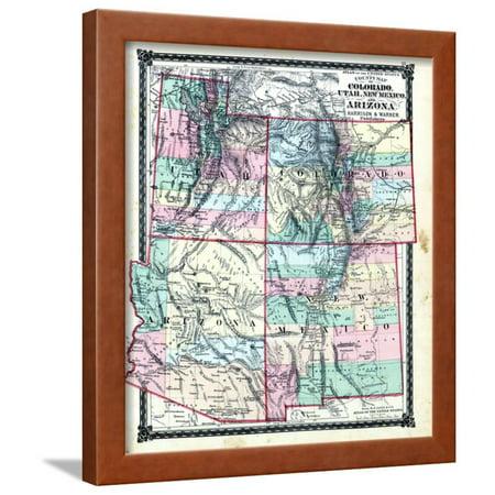 1876, County Map of Colorado, Utah, New Mexico and Arizona, United States Framed Print Wall