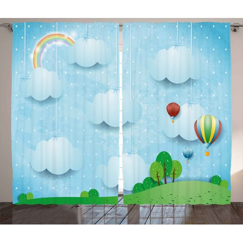 Zoomie Kids Chelsea Kids Decor Graphic Print & Text Semi-Sheer Rod Pocket Curtain Panels (Set of 2)