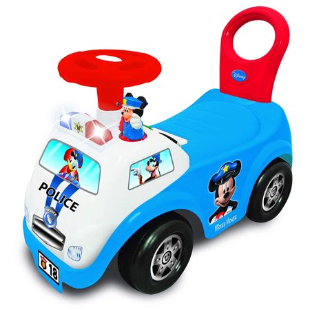 Kiddieland Disney Mickey Mouse My First Mickey Police Car Light and Sound Activity Ride-On Police Pedal Sedan