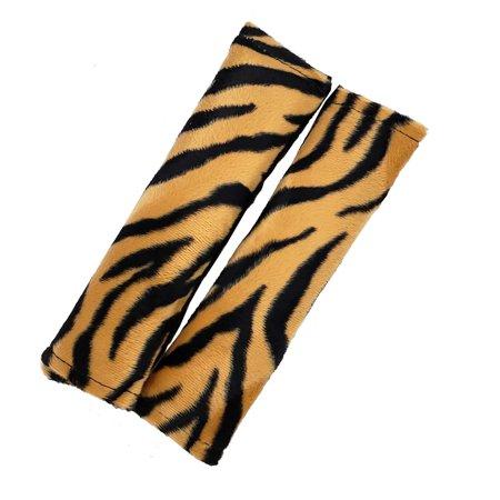 Soft Plush Car Seat Shoulder Belt Pads with Velcro Strap-Tiger Print,One