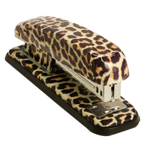 High Quality Womens Acrylic Leopard Exotic Safari Animal Print Utility Office Work  Stapler