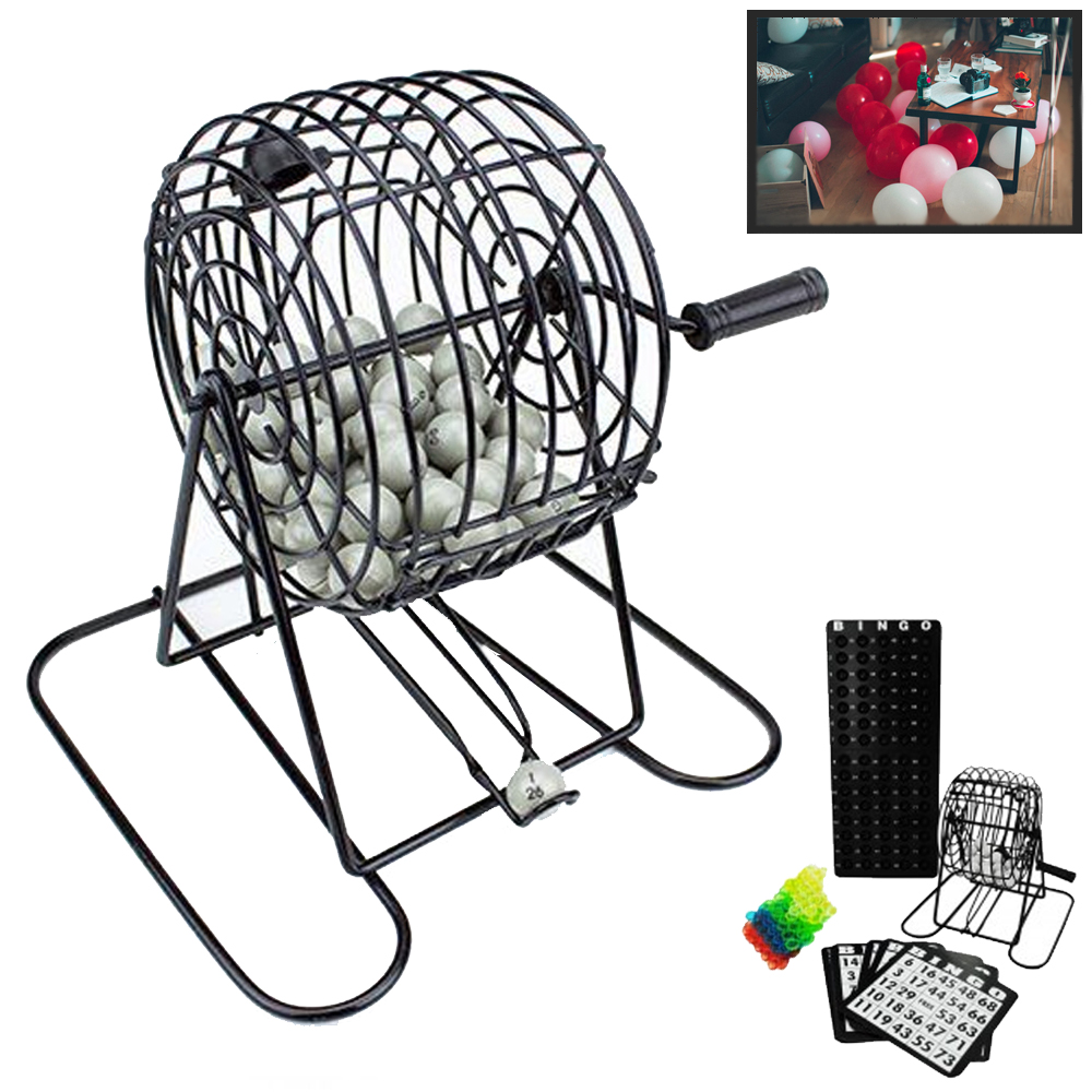 Deluxe Bingo Game Set Kit Cage Box Board Balls Cards Marker Family Fun Night New