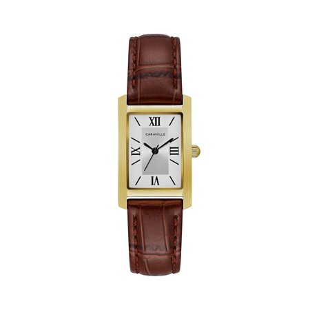 Rectangular Watches (Caravelle Women's Classic Rectangular Brown Leather Strap Gold-Tone Stainless Steel Dress)