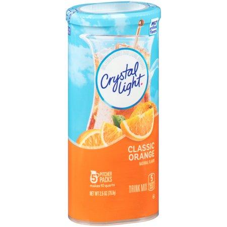 (2 Pack) Crystal Light Classic Orange Drink Mix, 5 count Canister (Blood Orange Vodka Halloween Drinks)